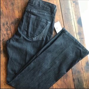 NYDJ Black Bootcut Jean With Leather Pocket Detail